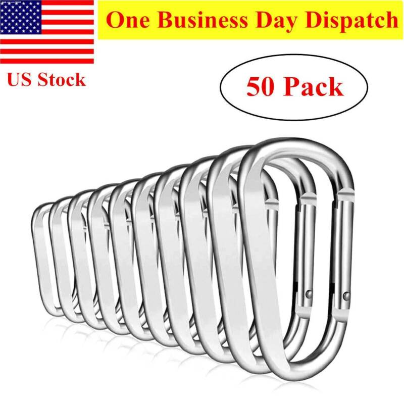 "Lot 50pcs Silver 2.5"" D Ring Carabiner Spring Belt Clip Key"