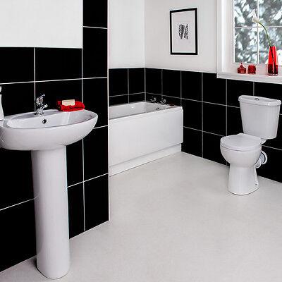 Full Modern Bathroom Suite 1700 Bath, WC Toilet, Basin Sink & Front Panel Splash