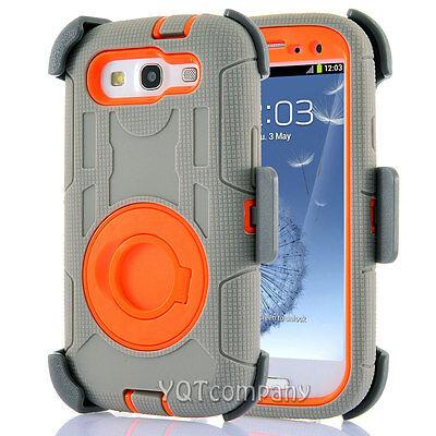 Hybrid Best Impact Shockproof Case + Holster Belt Clip for Samsung Galaxy S3 (Best Samsung S3 Case)