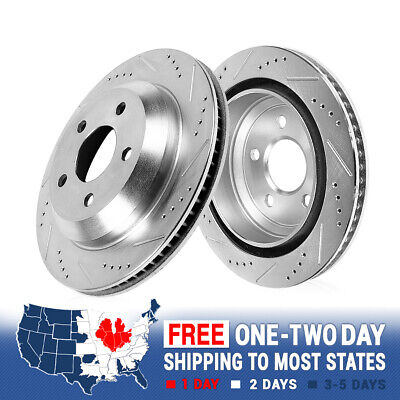 For 2004 2005 2006 2007 2008 2009 Audi S4 Rear Drilled Slotted Brake Rotors