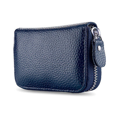 Navy Blue Solid Leather Accordion Wallet Zip Around ID Credit Card Case Holder Blue Leather Wallet