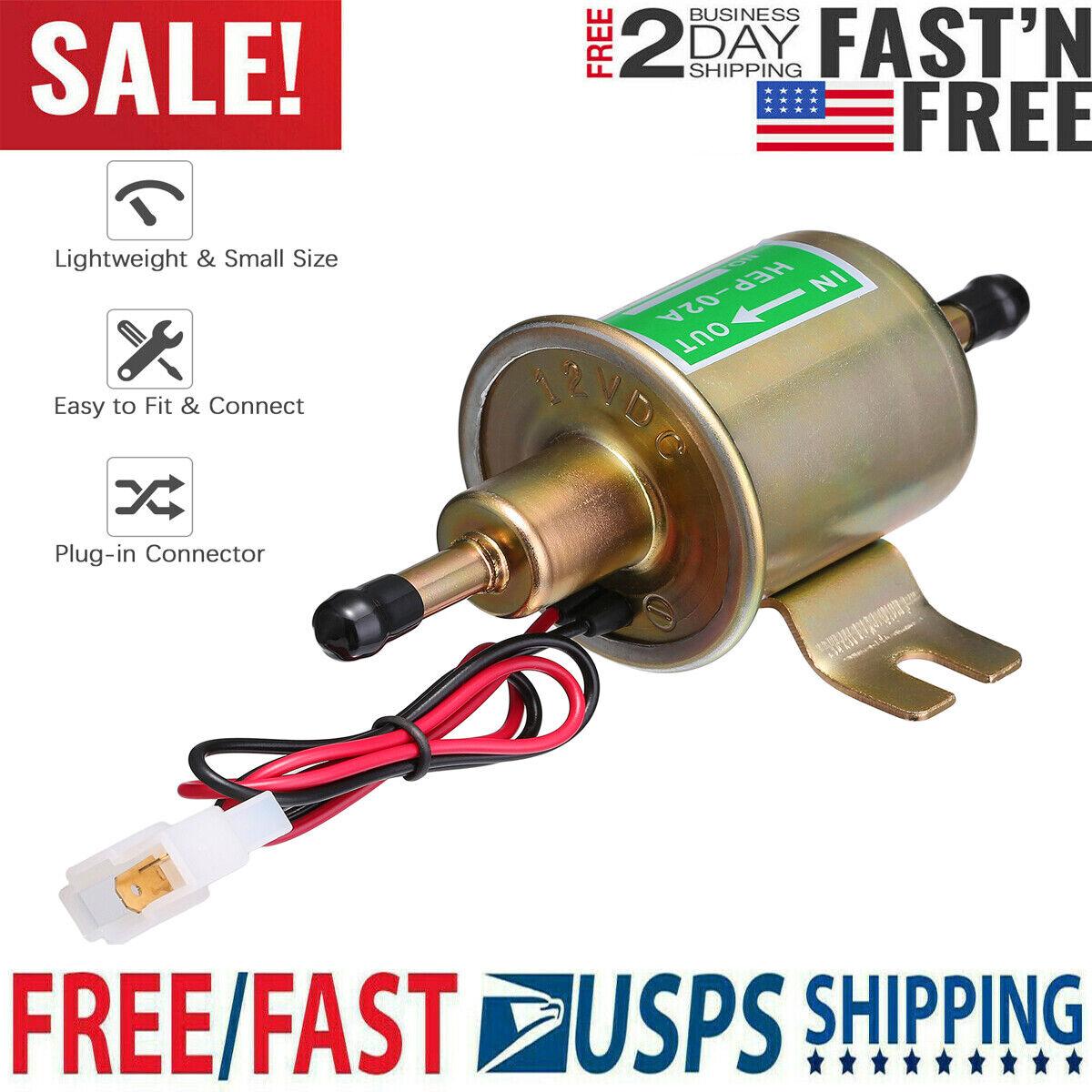 Universal Electric Fuel Pump 4-7 PSI 12V Low Pressure Gas Diesel Inline HEP-02A