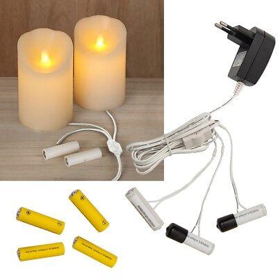 Batterie Kerzen (Batterie-Adapter AA AAA Batterieersatz 230V Betrieb für Led Kerze & Lichterkette)