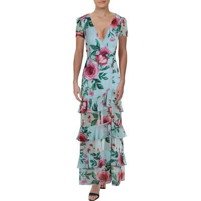 Fame And Partners Womens Pearl Blue Floral Tiered Wrap Dress 2 BHFO 7707