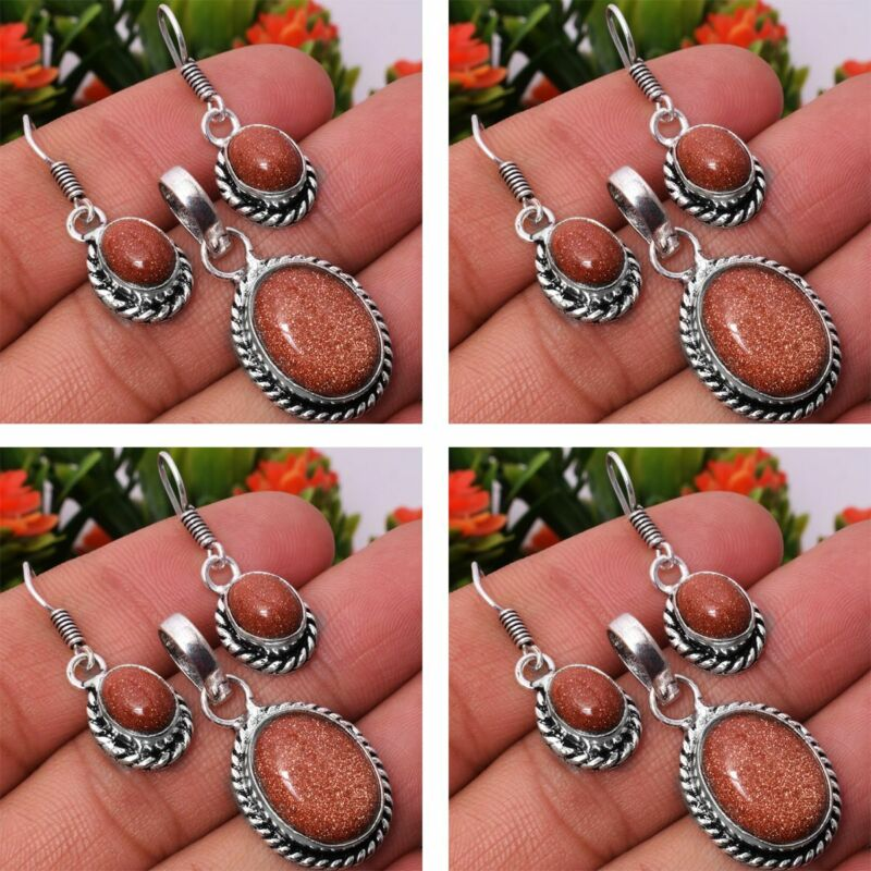 Sunstone 2pcs 925 Sterling Silver Plated Pendant Earring Sets Jewelry