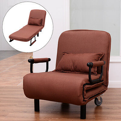 (Convertible Sofa Bed Folding Arm Chair Sleeper Leisure Recliner Lounge Couch New)