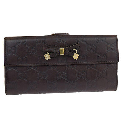Authentic GUCCI GG Pattern Long Bifold Wallet Purse Leather Brown Italy 66S898