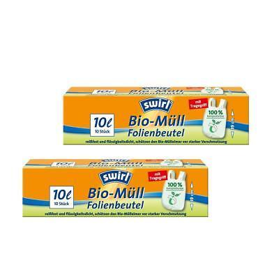 Swirl Bio-Müll Folien-Beutel 10l mit Tragegriff 10 stk./Rolle (2er Pack)
