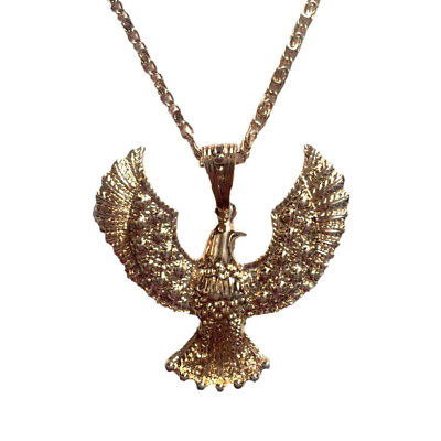 Elvis Presley Eagle Necklace Gold Chain Aloha Hawk Costume Jewelry 70s Las Vegas](Hawk Costume)