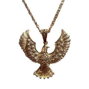 Elvis Presley Eagle Necklace Gold Chain Aloha Hawk Costume Jewelry 70s Las Vegas
