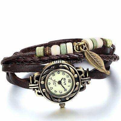 Women Vintage Handmade Leather Bracelet Leaf Decoration Quartz Charm Wrist Watch