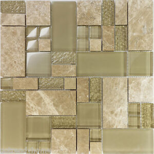 sample beige pattern glass stone marble blend mosaic tile