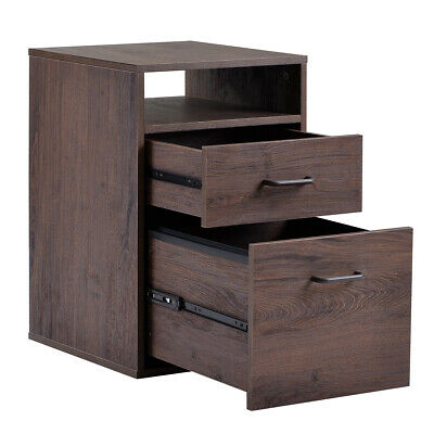 Walnut Office Home Cabinet with 2 Drawers Large File MDF Vertical Filing Cabinet Mdf Office File Cabinet