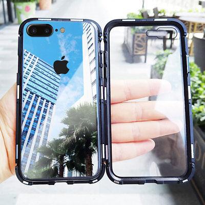 For iPhone 8 7 Plus Ultra Slim 360 Full Body Hard Case Cover Tempered Glass (Slim Metal Body)