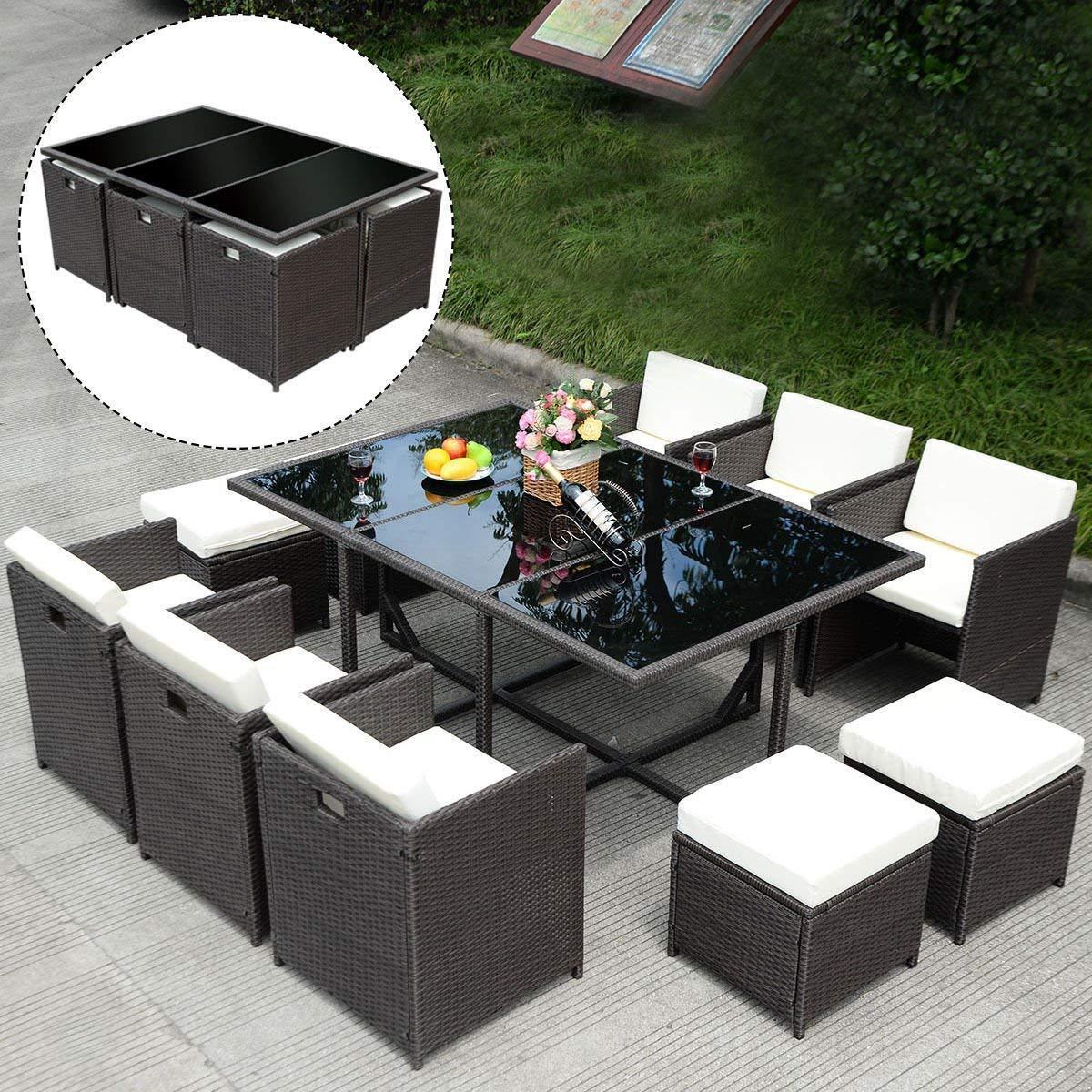 Garden Furniture - Patio Furniture Outdoor Wicker Rattan Dining Set Cushioned Seat Garden Sectional