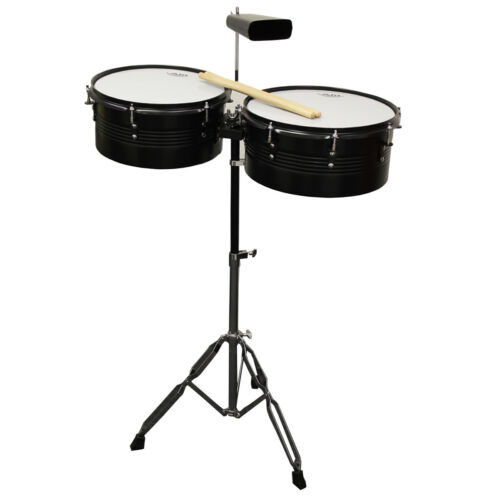 """AM Percussion 13"""" and 14"""" Timbale Drum Set - Black with Cowbell and Sticks"""