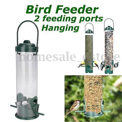 2x Feeding Ports Hanging Wild Bird Seed Feeder Perch Peanut Holder Hanger Garden