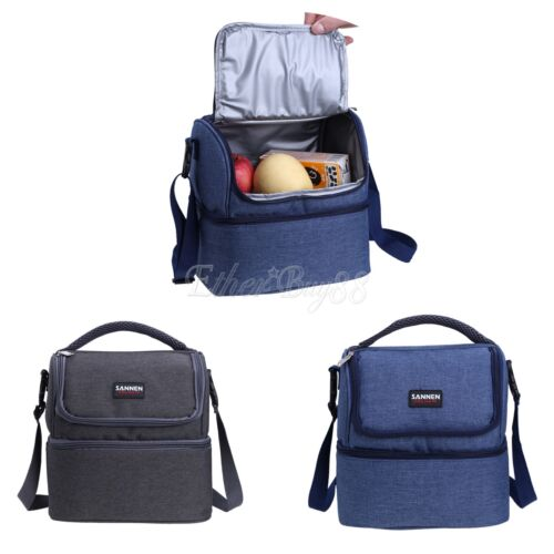 daul compartment insulated lunch bag cooler lunch box tote school work picnic. Black Bedroom Furniture Sets. Home Design Ideas