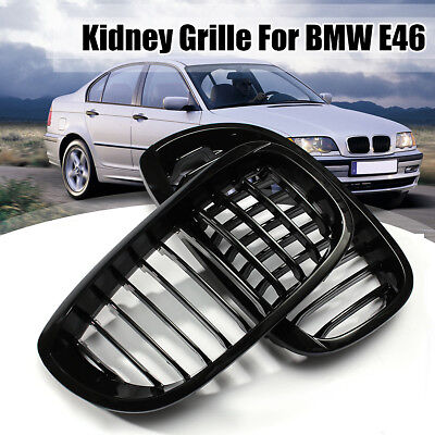 Black Front Kidney Grille Grill For BMW E46 3-Series 2Door Coupe Cabriolet 02-06