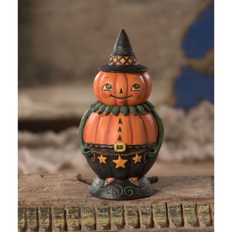 Bethany Lowe Halloween Pumpkin Pete Spooks Jar by Johanna Parker JP0382