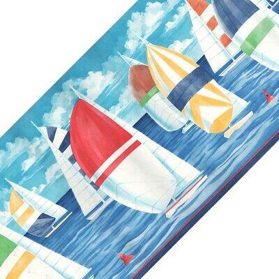 Colorful Borders (COLORFUL SAILBOATS PREPASTED WALL BORDER ROLL - Ocean Sailing Boating)