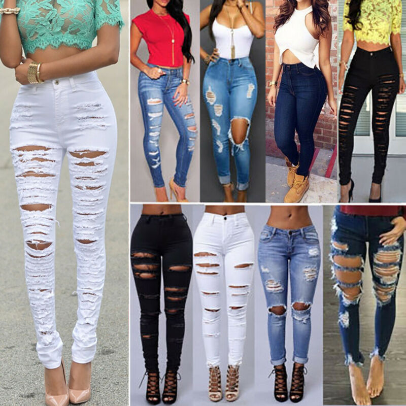 Women Destroyed Ripped Skinny Denim Jeans Distressed Stretch