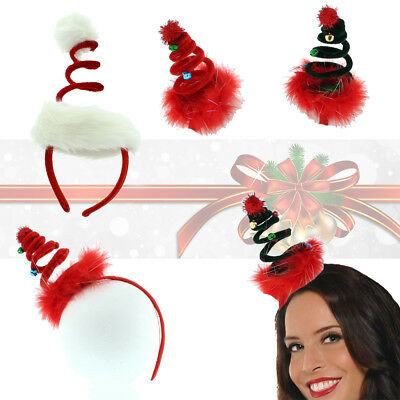 Ladies Deluxe Xmas Tree Spiral Spring Santa Christmas Hat Headband Fancy Dress ()