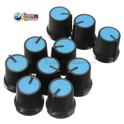 10pcs 6mm Blue Face Plastic Black Knob For Rotary Taper Potentiometer Hole
