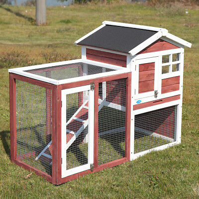 Chicken Coop House Rabbit Small Animal Supplies Cage Outdoor Wooden Pet Hutch for sale  USA