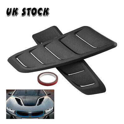 2PCS Black ABS Plastic Car universal Air Intake Scoop Front Hood Airflow Vents
