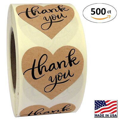 1 5  Heart Shape Kraft Paper Thank You Adhesive Label  500 Stickers Per Roll