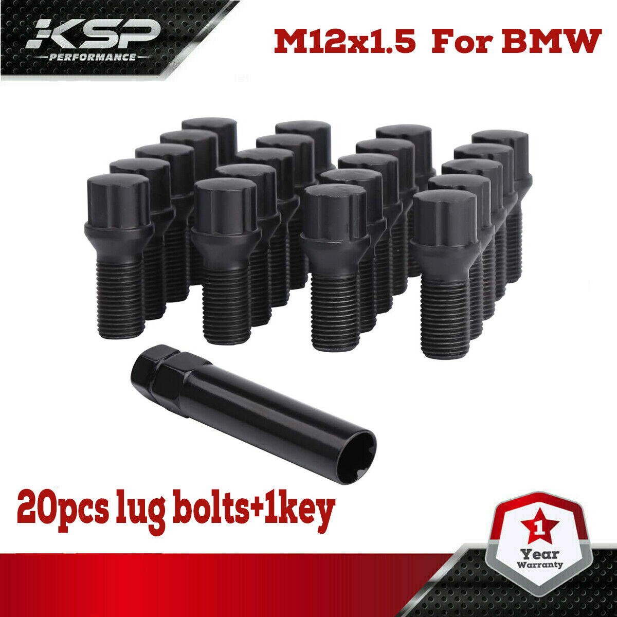 20 BMW Black Lug Bolt Wheel Locks + Key 12x1.5 For M3 M5