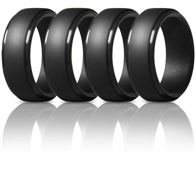 4pcs 8mm Black Silicone Wedding Rings For Mens Step Edge Rubber Wedding Bands