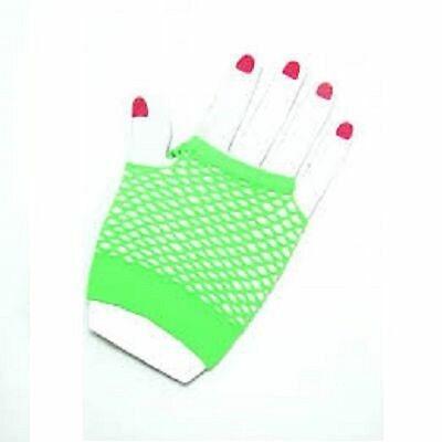 Neon Farben Shorts Fischnetz Kostüm Fingerlose Handschuhe Grün - Neonfarbene Kostüme