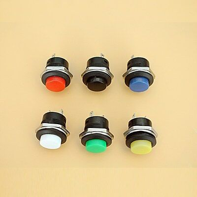 5pcs Normally Open 16mm Round Momentary 2 Pins Metal Push Button Switch 6 Color