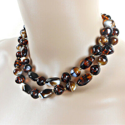 60s -70s Jewelry – Necklaces, Earrings, Rings, Bracelets Vintage Rootbeer Art Glass Bead Multi 2 Strand Necklace $14.95 AT vintagedancer.com