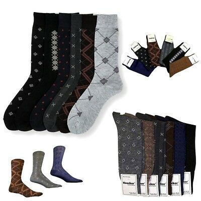 6 Pairs Mens Dress Socks Multi Color Print Casual Work Size 10-13 Fashion Crew