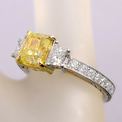2.25 Ct Cushion Cut Canary Antique Hand Carved Diamond Engagement Ring VS1 GIA 5