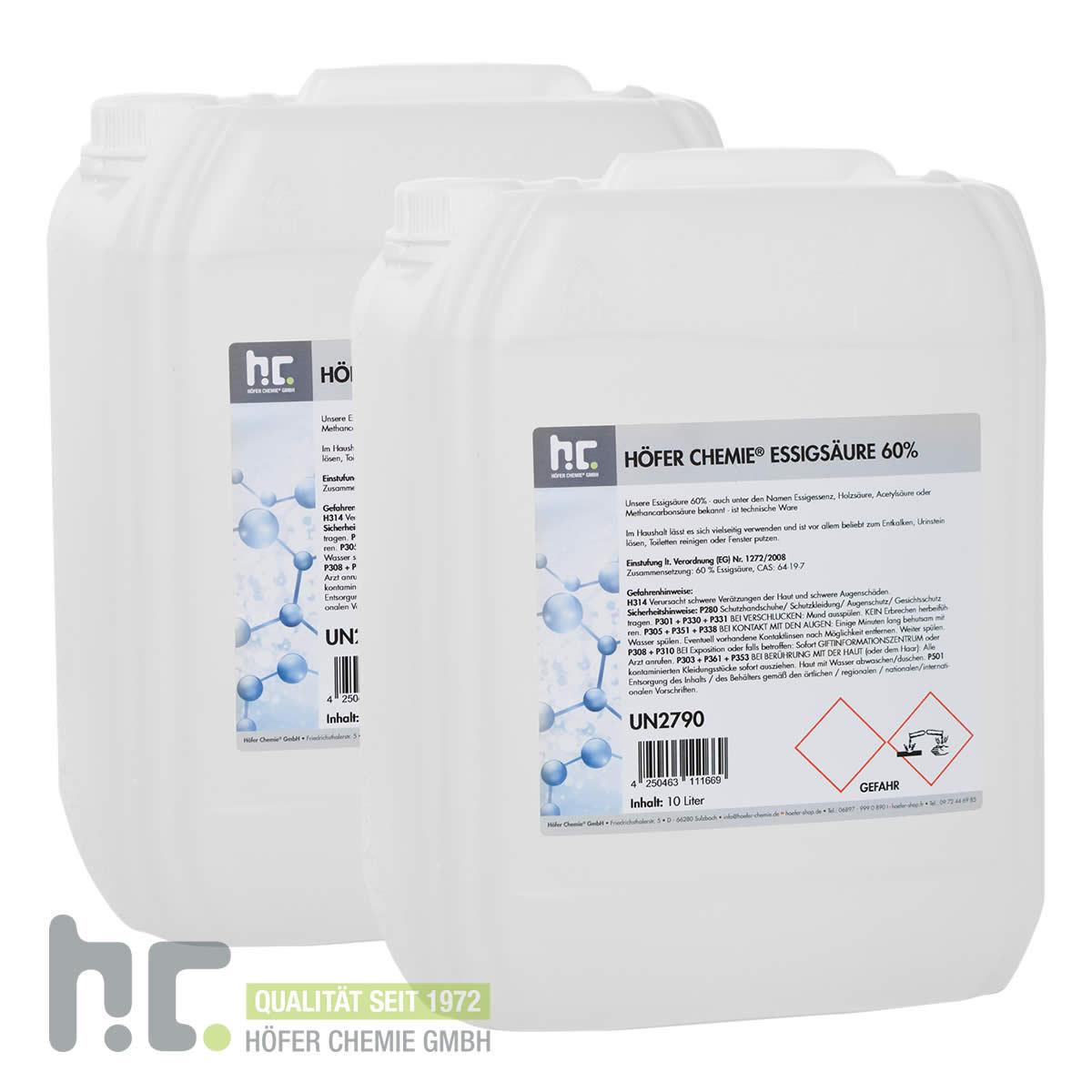20 Liter (2 x 10 L) Essigsäure 60% Essigessenz C2H4O2 Entkalker