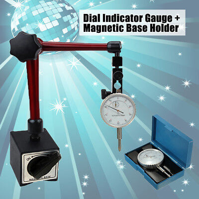 0-10mm Precision Lever Dial Test Indicator Gauge W Magnetic Base Holder Stand