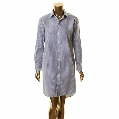 POLO RALPH LAUREN NEW Women's Blue/ivory Striped Cotton Shirt Dress 2 TEDO