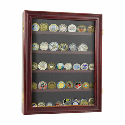 LOCKABLE Challenge Coin Display Case Casino Chip Cabinet Pin Medal Shadow Box Medal Shadow Boxes