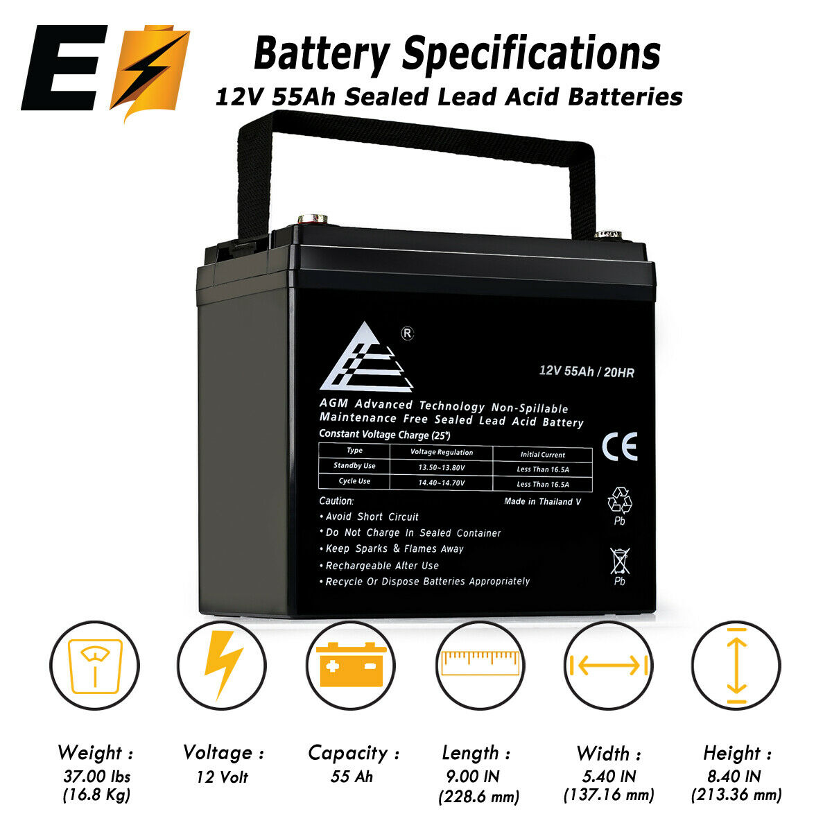 12V 55Ah Rechargeable SLA AGM Battery for Wind, Solar, and O