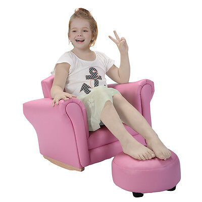 Pink Kids Sofa Armrest Bench Couch Childrens Living Room Toddler Birthday Gift