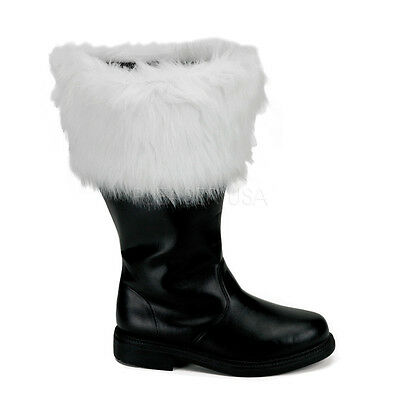 Mens Santa Claus Father Christmas Wide Calf Big Leg Costume Boots size 10 11 12 - Santa Costume Boots