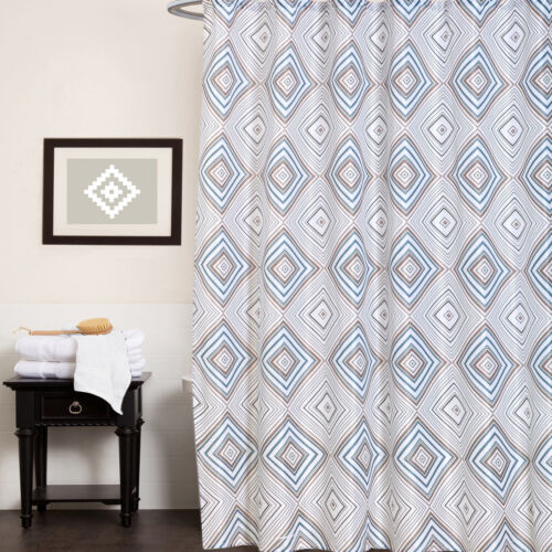 Polyester Canvas Fabric Shower Curtain 70″x70″ Kaitlyn Geometric Print Bath