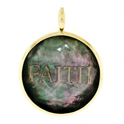 Estate Ippolita 18k Yellow Gold FAITH Black Mother of Pearl Shell Charm Pendant