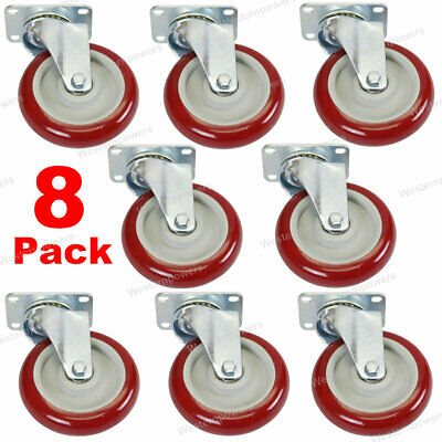 8 Pack 5 Caster Wheels Swivel Plate Polyurethane Wheels Heavy Duty Wheels
