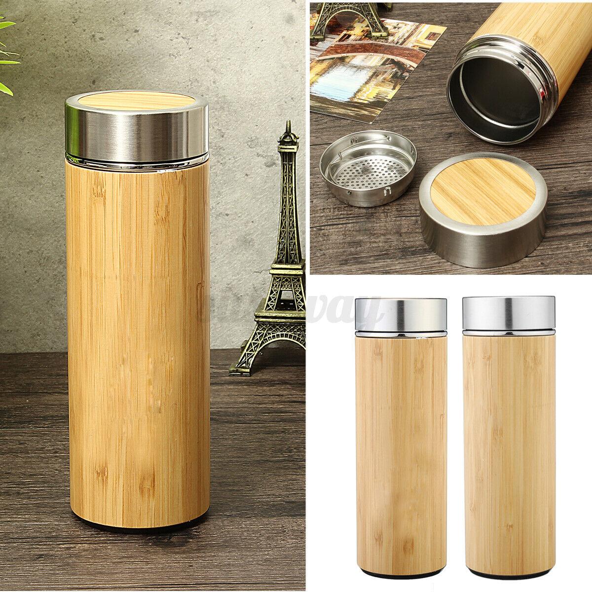 Bambù Viaggio Thermos Tazza Acciaio Inox Bottiglie Acqua Vuoto Fiasche Tè