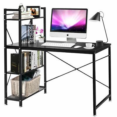 modern computer desk with 4 tier shelves